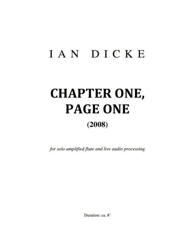 Chapter One, Page One (2008)